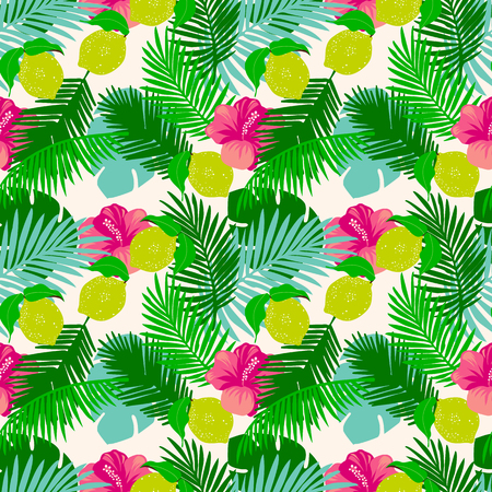 Seamless pattern of lemon with tropical leaves, hibiscus flowers.  jungle leaves on a white  background.