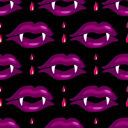 Vampire sexy lips seamless vector pattern Vectores