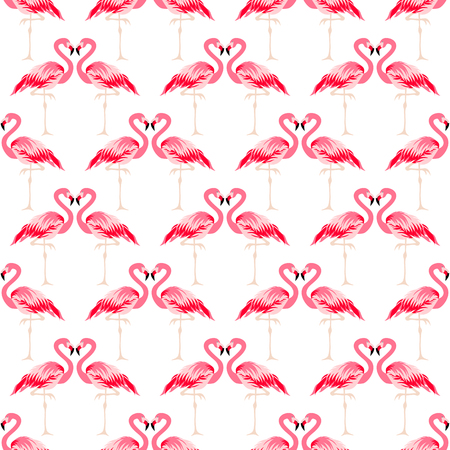 Seamless summer tropical pattern with cute flamingo bird Ilustrace