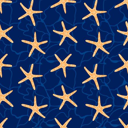 Seamless pattern with star fish. Underwater background.