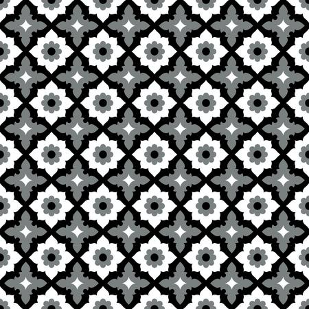 Conception de carreaux de céramique géométrique de modèle sans couture avec ornement floral