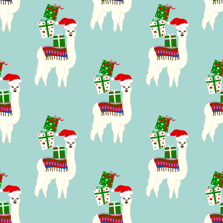 Christmas seamless pattern with cute llamas in hats
