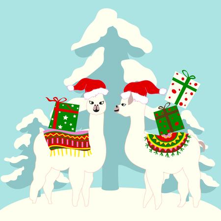 귀여운 라마와 나무 벡터가 있는 크리스마스 휴일 카드