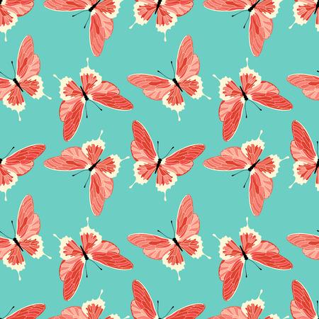 Seamless pattern with butterflies. Vector butterfly background. Vektorové ilustrace