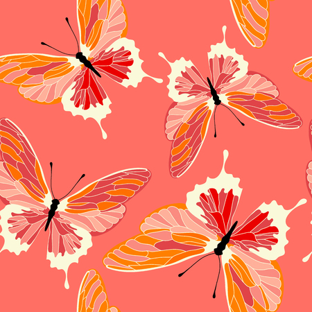 Seamless pattern with butterflies, coral color design. Vector butterfly background.  イラスト・ベクター素材
