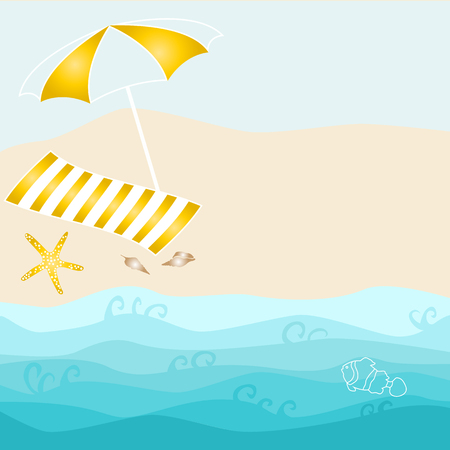Summer card design with parasol, towel, starfish, shell on the beach