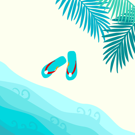 Summer card design with  flip flop and tropical leaves on the  sandy beach