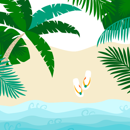 Summer card design with , flip flop and tropical leaves on the  sandy beach