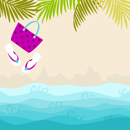 Summer card design with bag, flip flop and tropical leaves on the sandy beach