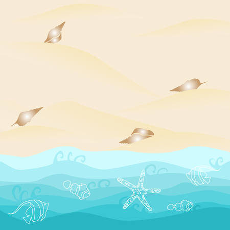 Summer card design with  shell, starfish and fish on the ocean beach