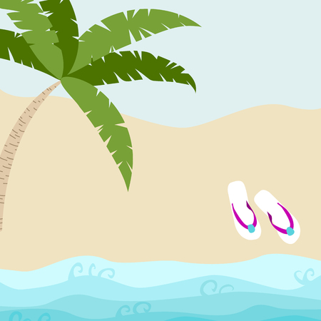 Summer card design with  flip flop and tropical tree on the  sandy beach