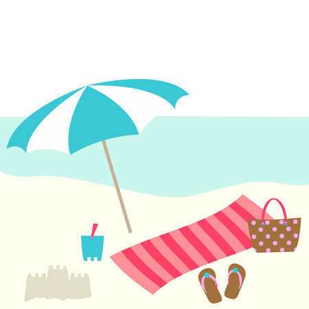 Summer card design with parasol, bag,  towel, bucket, slipper on the beach Illustration