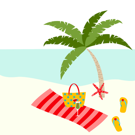 Summer card design with tropical tree, bag,  towel, starfish, slipper on the beach Illustration