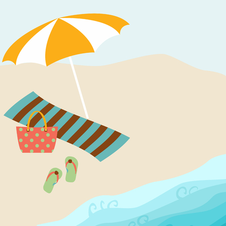 Summer card design with parasol, bag,  towel,  slipper on the beach