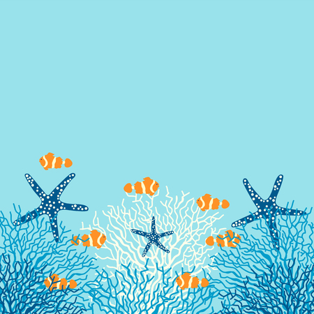 Sea life vector background with coral, fish and starfish on a blue background.