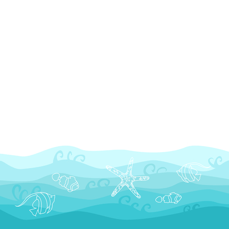 Summer card design  with fish, starfish and wavy ocean  イラスト・ベクター素材