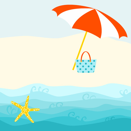 Summer card design with parasol, bag,  starfish on the beach