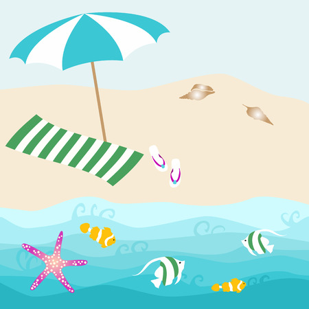 Summer card design with parasol, shell, towel, starfish, fish, slipper on the ocean beach