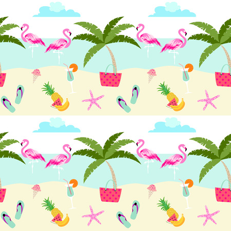 Summer pattern design with cute flamingos, beach, sea, fruits, ice cream and holiday symbols. Pastel color summer pattern.