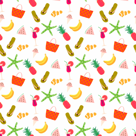 Summer pattern background with fruits, bag, star fish and sandal. Summertime seamless background summer icons.