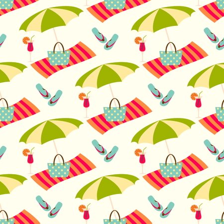 Summer beach seamless vector pattern with sun umbrella, towel and holiday icons.