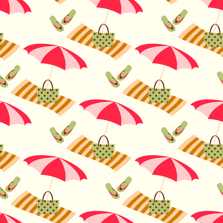 Summer beach seamless vector pattern with sun umbrella, towel and holiday icons. Vintage color summer pattern.