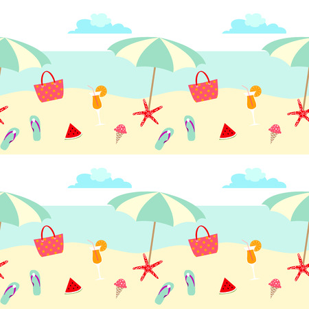 Summer pattern design with umbralla , beach, sea, fruits, and holiday symbols.