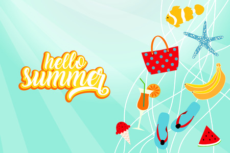 Hello summer banner card with beach elements. Summertime background  イラスト・ベクター素材