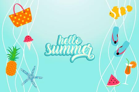 Hello summer banner with beach elements. Summertime background