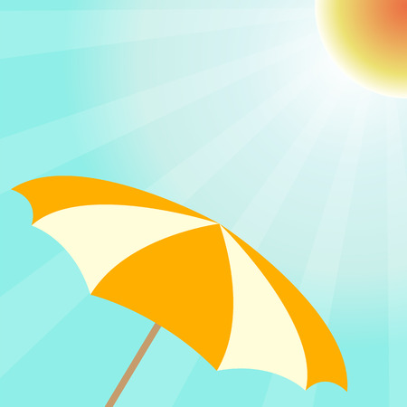 Summer vector design with sun umbrella. Summertime background sun and parasol