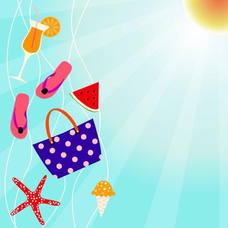 Summer vector design with beach elements. Summertime background