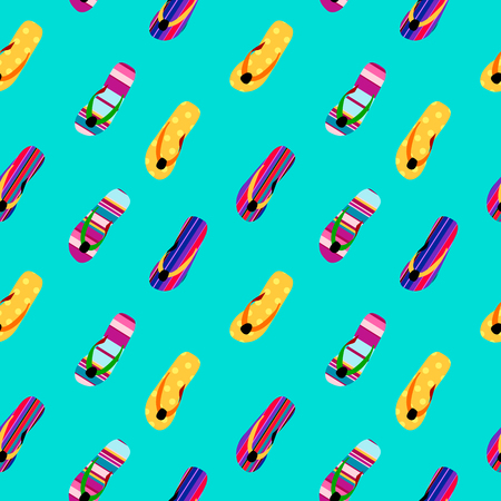 Flip flop print pattern. Seamless pattern with cute colorful sandals. Pattern design in slipper. Summer texture vector background  イラスト・ベクター素材