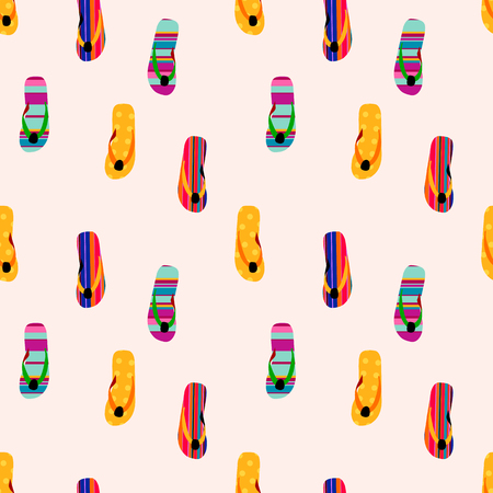 Flip flop print pattern. Seamless pattern with cute colorful sandals. Pattern design in slipper. Summer texture vector background 写真素材 - 125197709