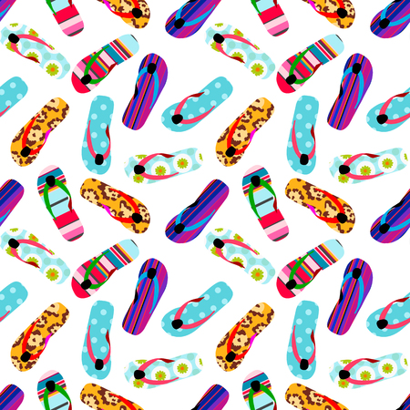 Flip flop print pattern. Seamless pattern with cute colorful sandals. Pattern design in slipper. Summer texture vector background 写真素材 - 125197713