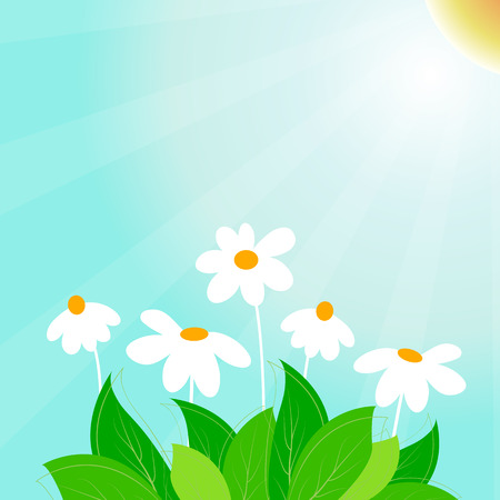 Spring time vector background with leaves and cute flowers