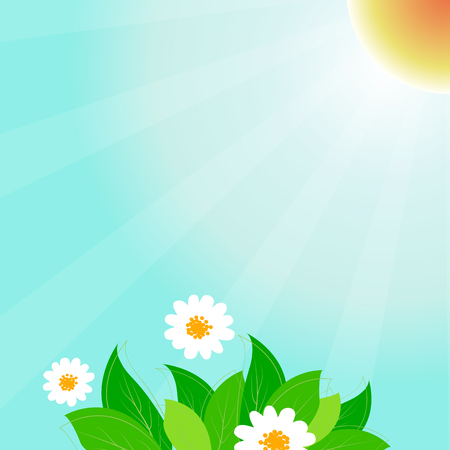 Spring time vector background with leaves and cute flowers 写真素材 - 125140252