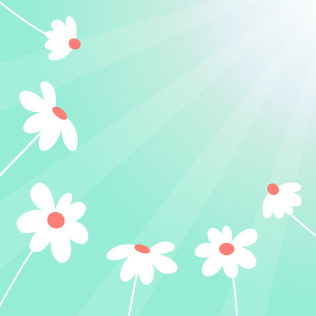 Spring time vector background with cute flowers 写真素材 - 125140254