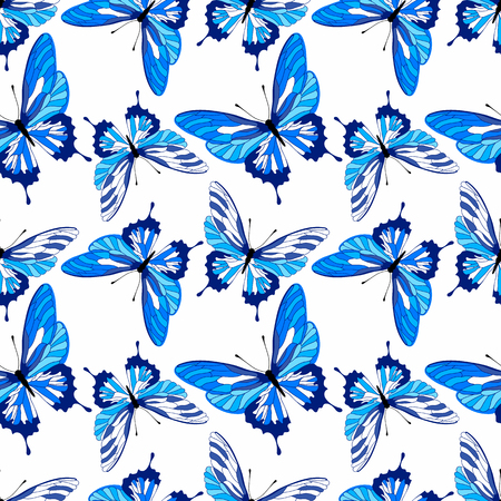 Seamless pattern with blue butterflies design. Vector butterfly background. Ilustração