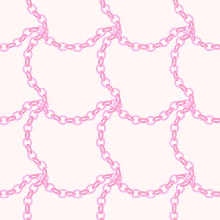 Pink checkered chain  seamless pattern design. Chains background