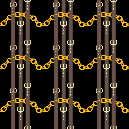 Chain and belt seamless pattern design. Golden chains with brown belts on a black background  イラスト・ベクター素材