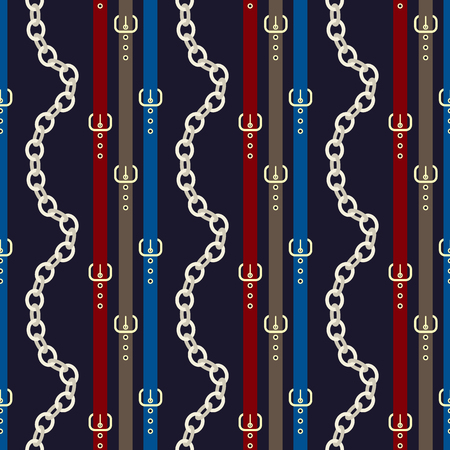 Chain and belt seamless pattern design.  Silver chains with colorful belts on a deep blue background  イラスト・ベクター素材