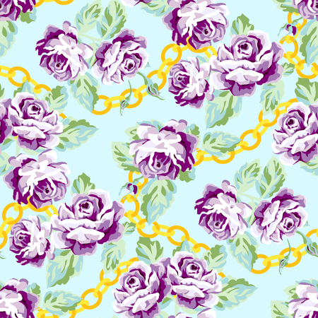 Floral roses pattern with golden chains. Chic flower pattern design on a pastel blue background Ilustração