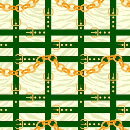 Chain and belt pattern with zebra skin background
