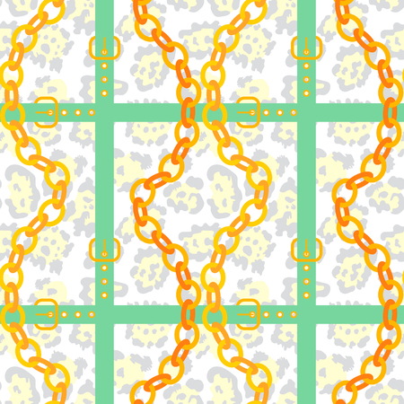 Golden chain and belt pattern with leopard skin background