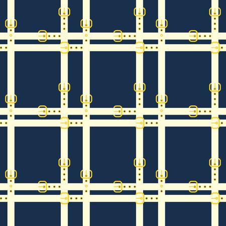 Belt seamless pattern design.  White belts on a deep blue background  イラスト・ベクター素材