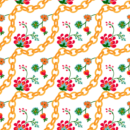 Floral folk pattern with golden chains. Chic small flower pattern design on a white background