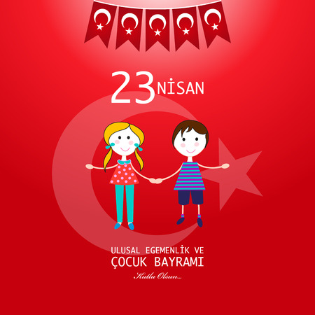 23 April children's day. Translation: April 23 national sovereignty and children's day. 23rd April National Sovereignty and Children's Day Illustration