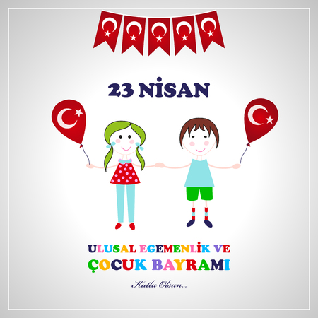 23 April children's day. Translation: April 23 national sovereignty and children's day. 23rd April National Sovereignty and Children's Day Ilustrace