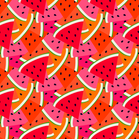 Summer fruit pattern with sweet watermelon.  Seasonal summer fruit background. Watermelon colorful print