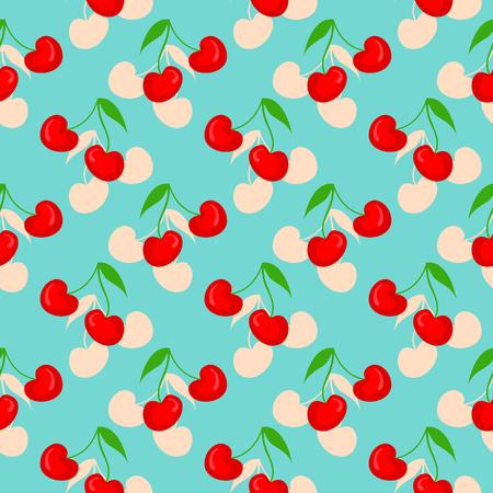 Seamless pattern with berries. Summer cherries sweet fruit print.